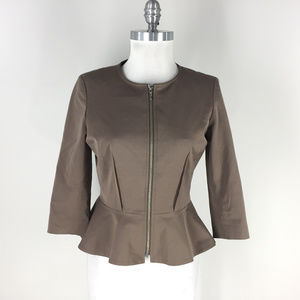 RIS setlakwe S 4 Peplum Blazer Zip Brown Jacket